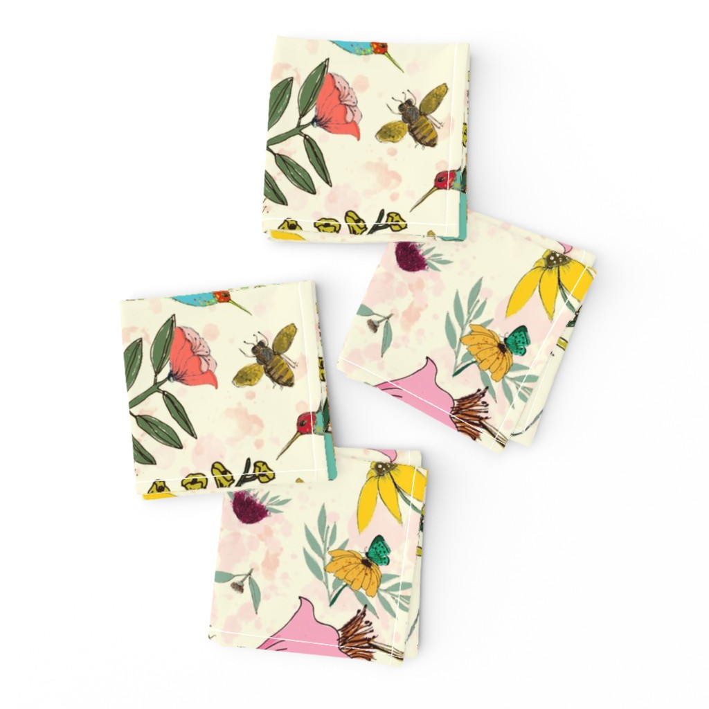 Frizzle Cocktail Napkins featuring Hummingbird House by lynnpriestleydesign