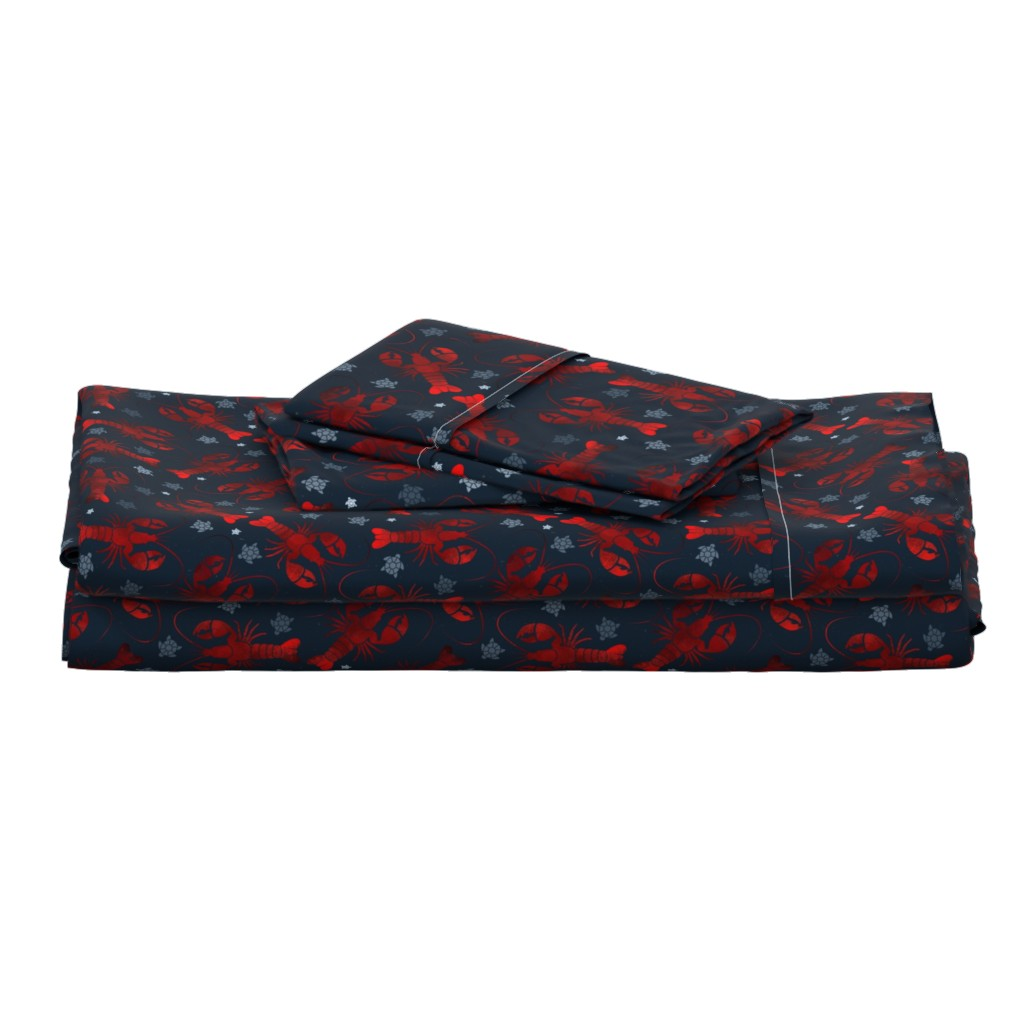 Langshan Full Bed Set featuring lobster love red on blue by colorofmagic