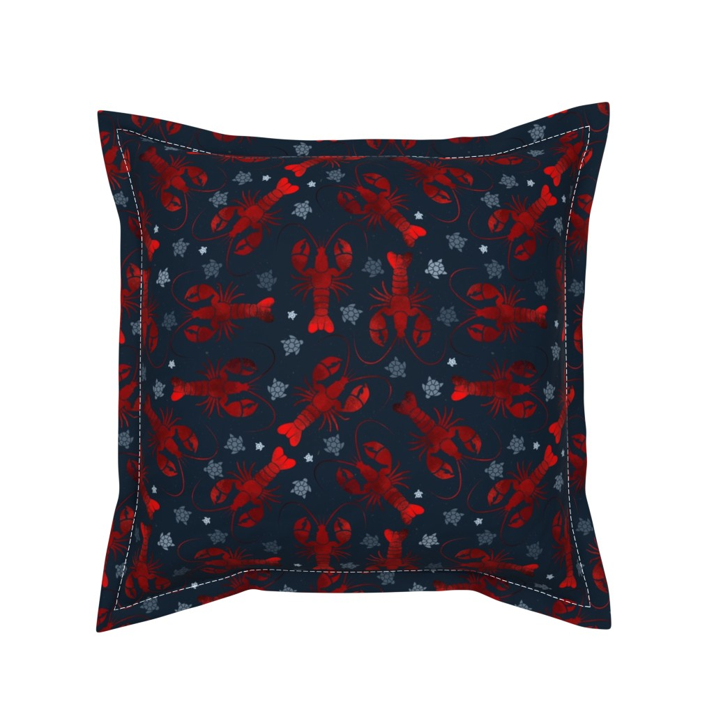 Serama Throw Pillow featuring lobster love red on blue by colorofmagic