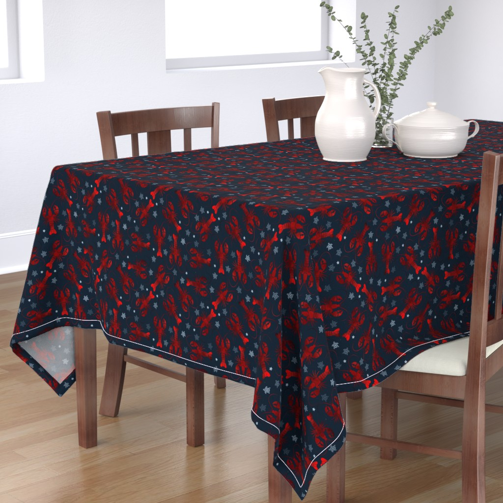 Bantam Rectangular Tablecloth featuring lobster love red on blue by colorofmagic