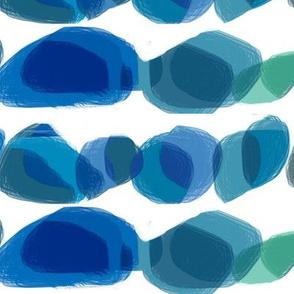 Blue green sea glass stones pebbles large