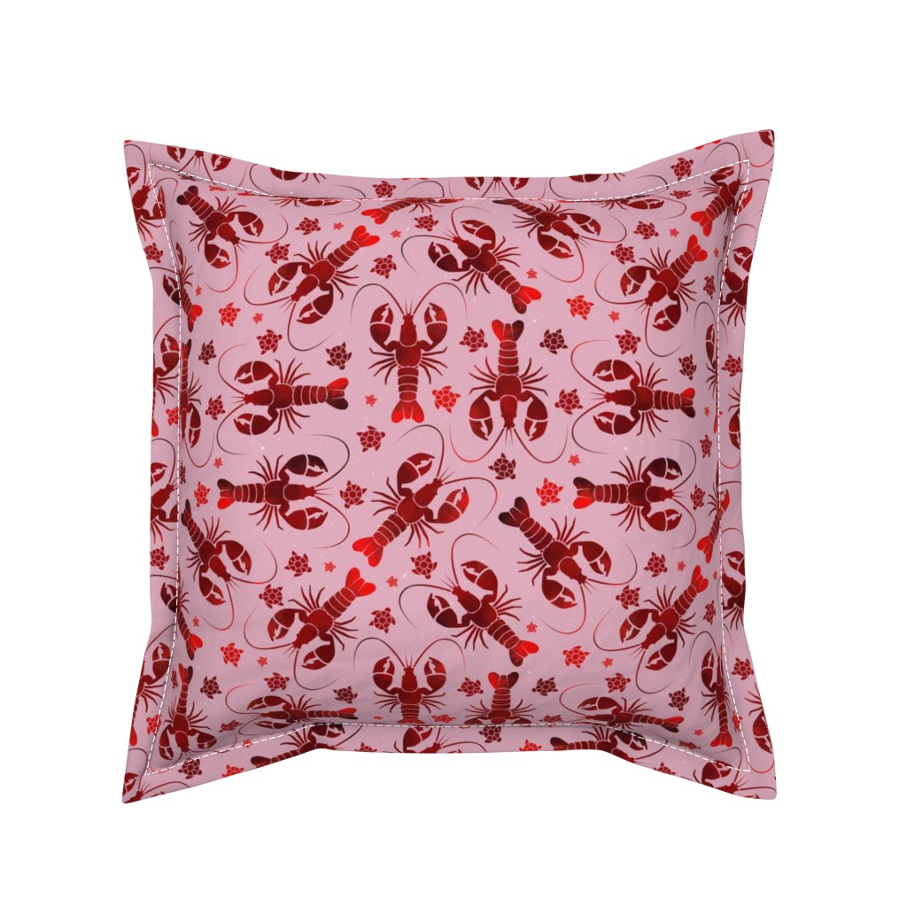 Serama Throw Pillow featuring lobster love red on pink by colorofmagic