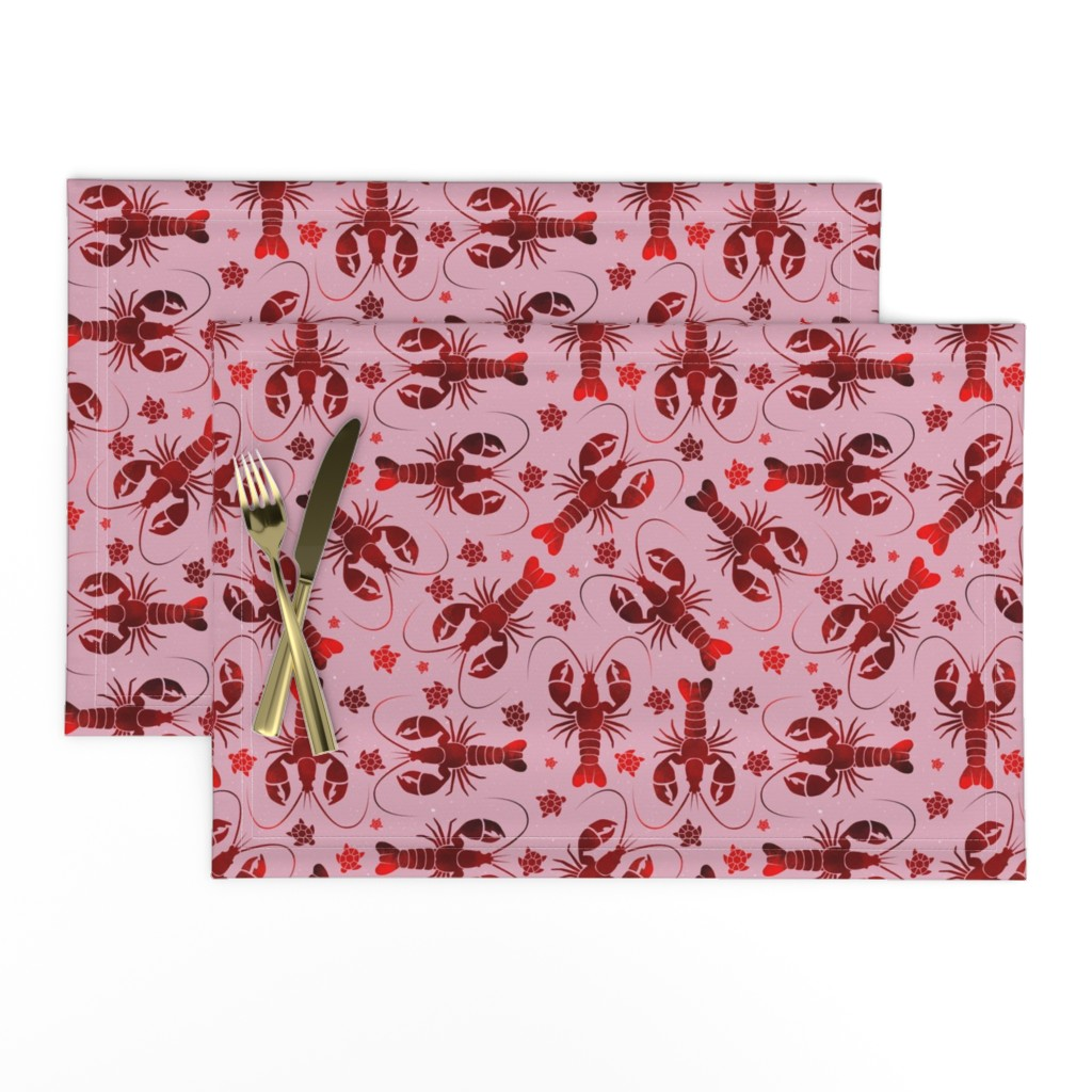 Lamona Cloth Placemats featuring lobster love red on pink by colorofmagic