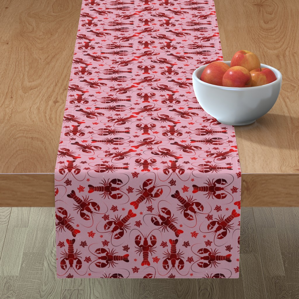 Minorca Table Runner featuring lobster love red on pink by colorofmagic