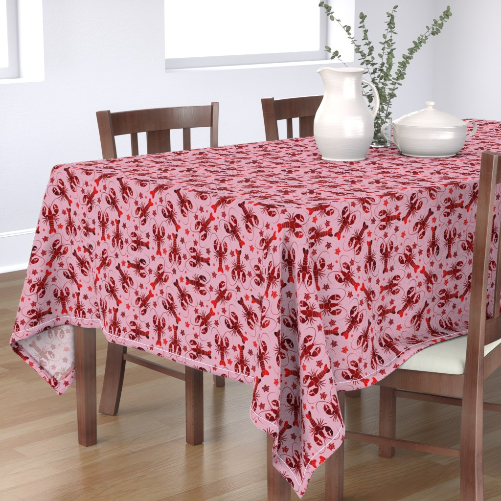 Bantam Rectangular Tablecloth featuring lobster love red on pink by colorofmagic