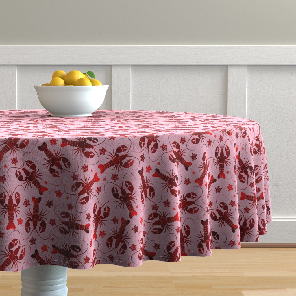 Malay Round Tablecloth featuring lobster love red on pink by colorofmagic