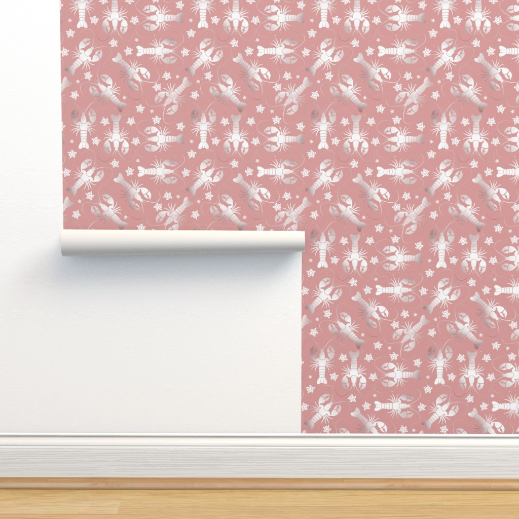Isobar Durable Wallpaper featuring lobster love pressed rose by colorofmagic