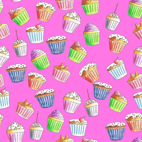 Pretty pink cupcakes on a solid pink background