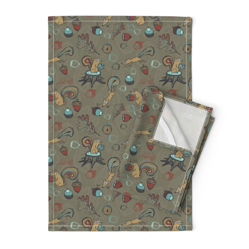 Orpington Tea Towels featuring squirrels taupe by teresamagnuson