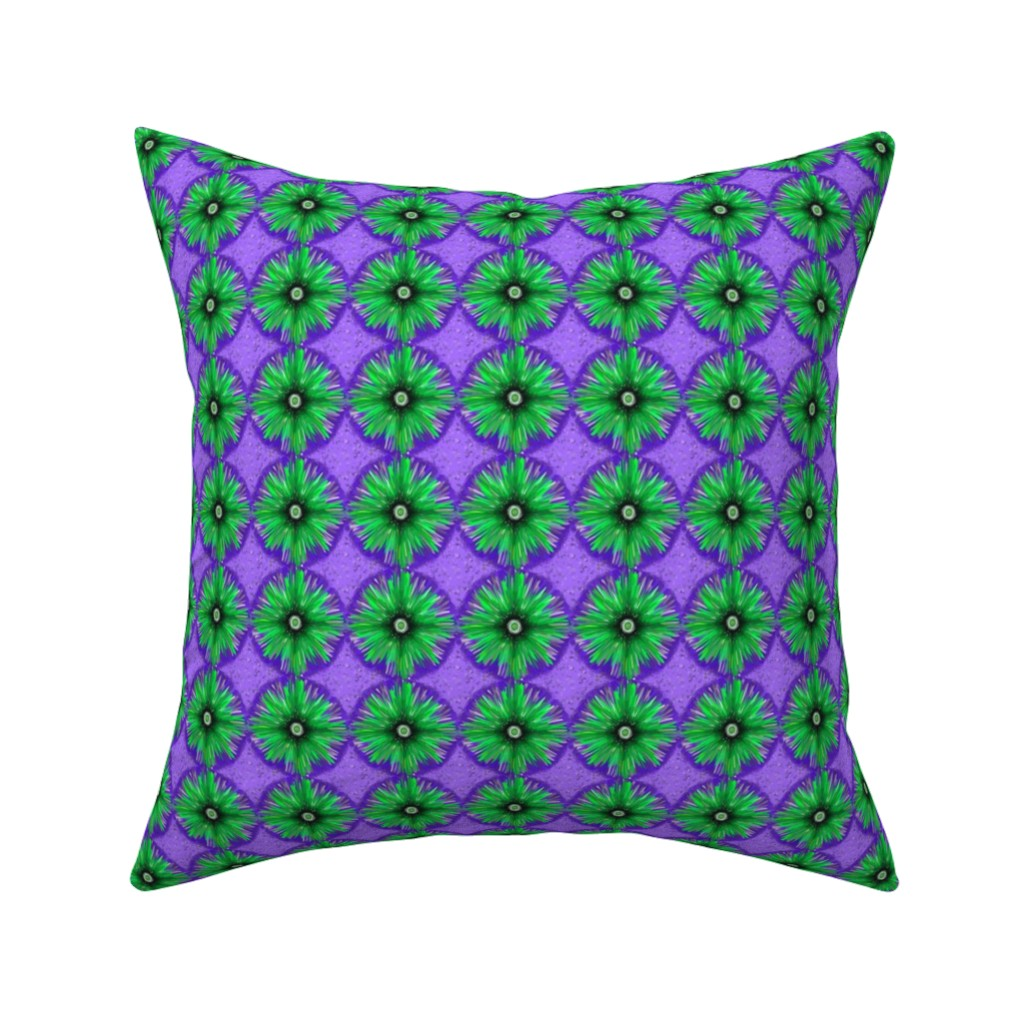 Catalan Throw Pillow featuring BYF7 - Medium - Bull's Eye Floral in Violet Blue and Green by maryyx