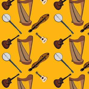 Folk Instruments on Goldenrod, by DulciArt, LLC