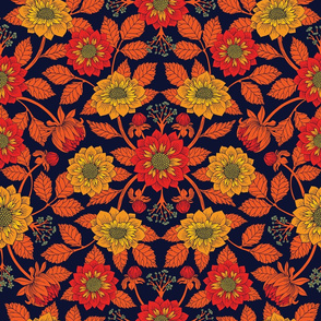Vibrant Yellow, Red, Orange, Blue & Navy Floral Pattern