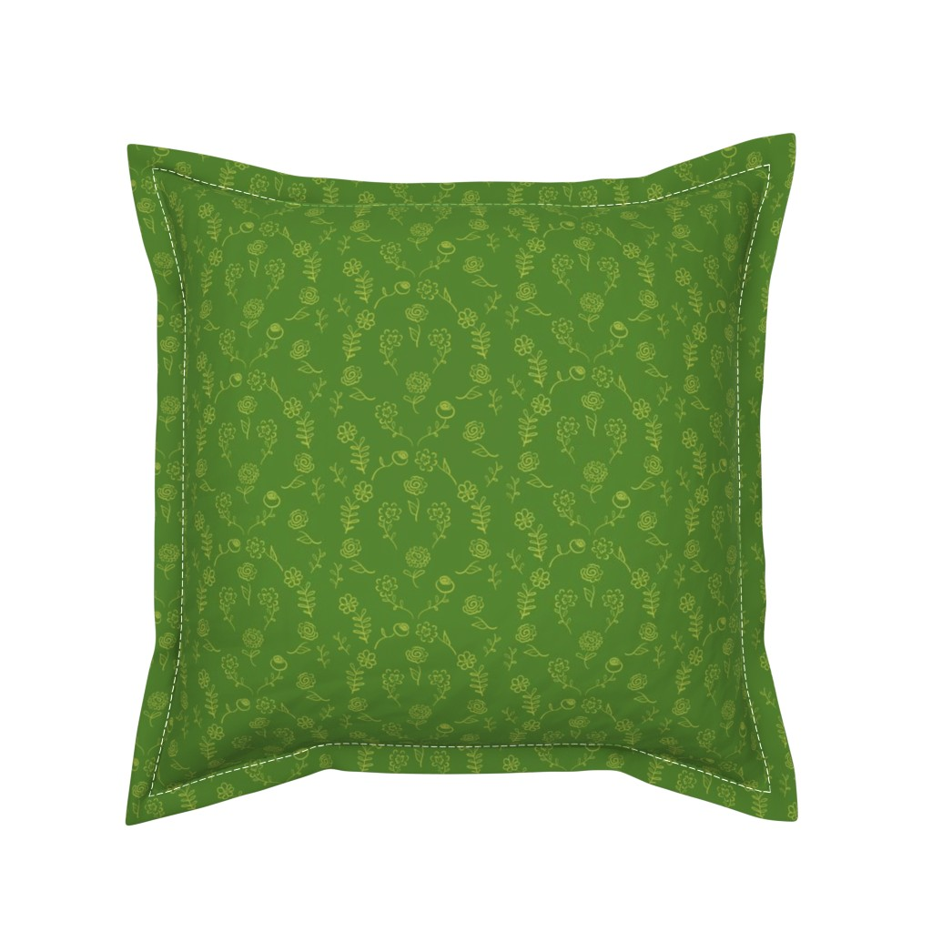 Serama Throw Pillow featuring Floral Navettes - Moss by teawithxanthe