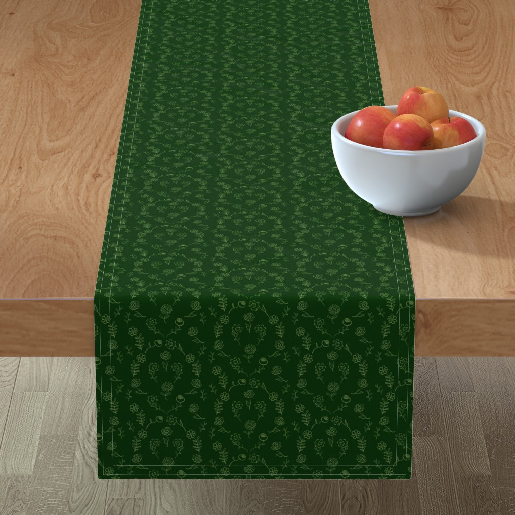 Minorca Table Runner featuring Floral Navettes - Forest by teawithxanthe