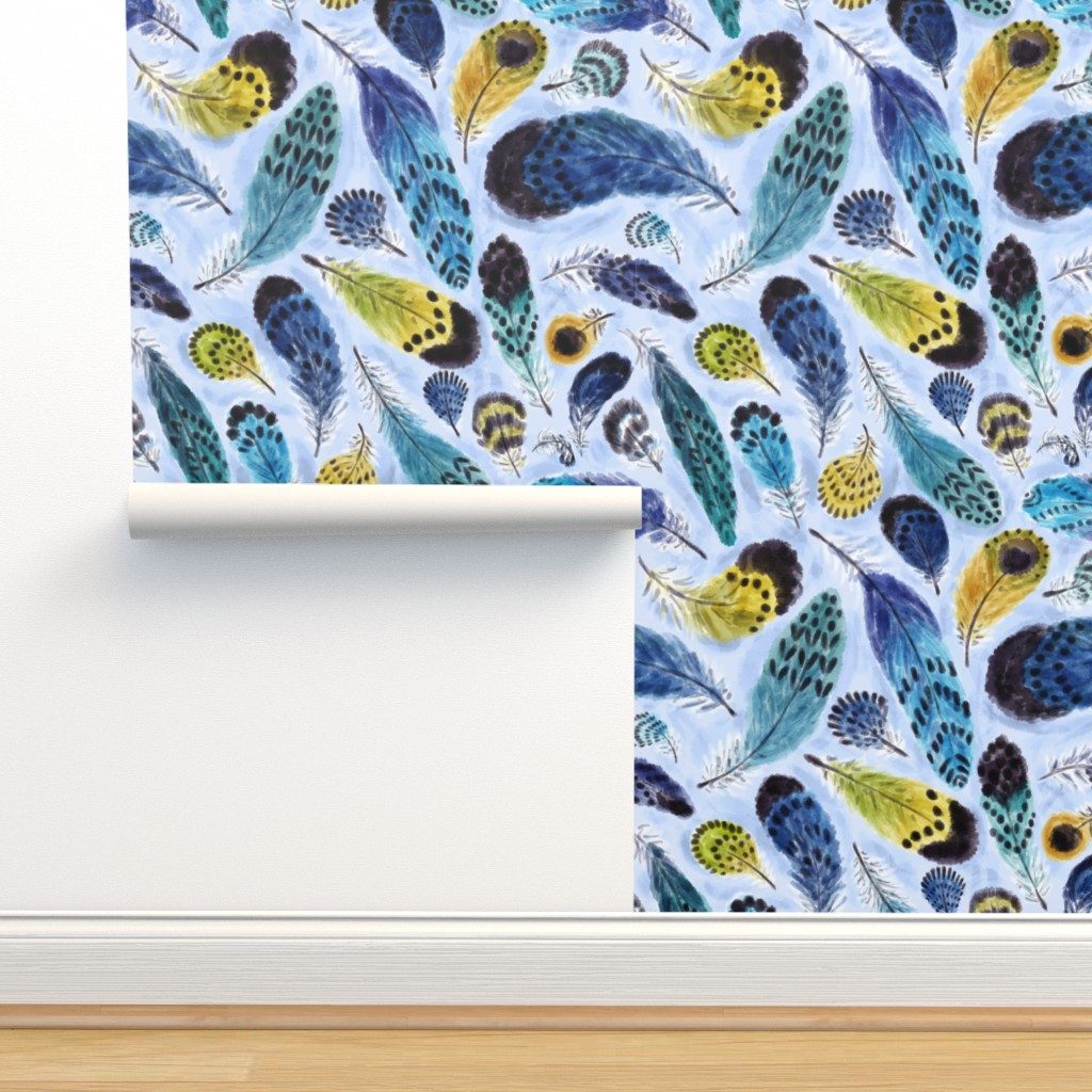 Isobar Durable Wallpaper featuring Boho Parrots' Feathers by helenpdesigns