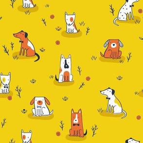 Puppies on yellow