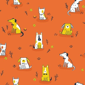 Puppies on orange