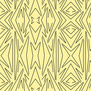 Yellow solid background with a retro style black line design