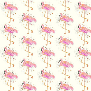 Fuchsia Flamingos On Cream