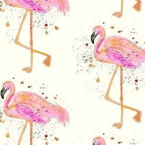 Fuchsia Flamingos On Cream