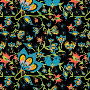 Whimsical Black Paisley Peacock Feathers on a Vine