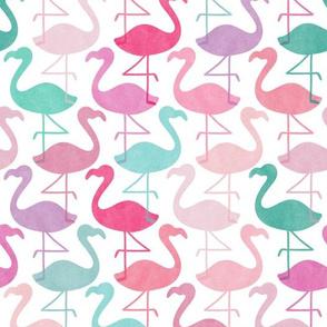 Flock of Watercolor Flamingos