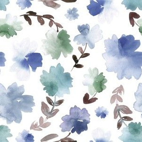 Florals in blue and green