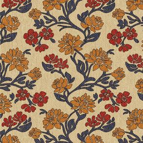 Vintage floral Victorian textured upholstery beige Wallpaper