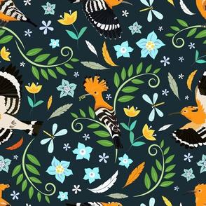 Hoopoe bird pattern