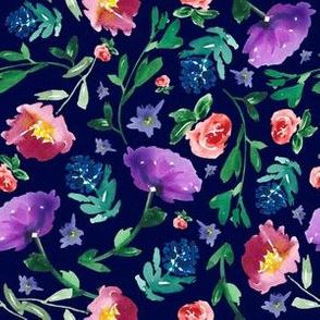 Floral on dark blue