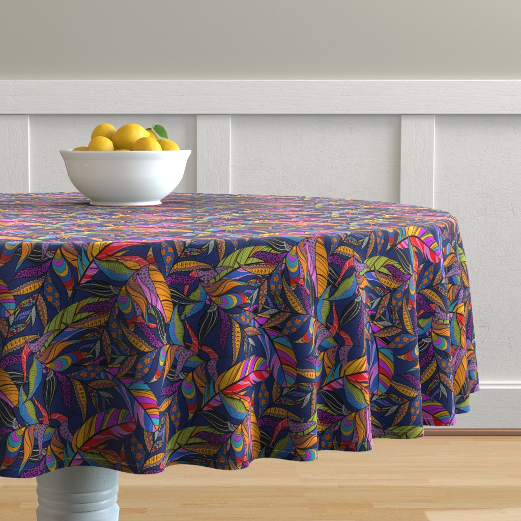 Malay Round Tablecloth featuring Feathers in Layers by reneeciufo