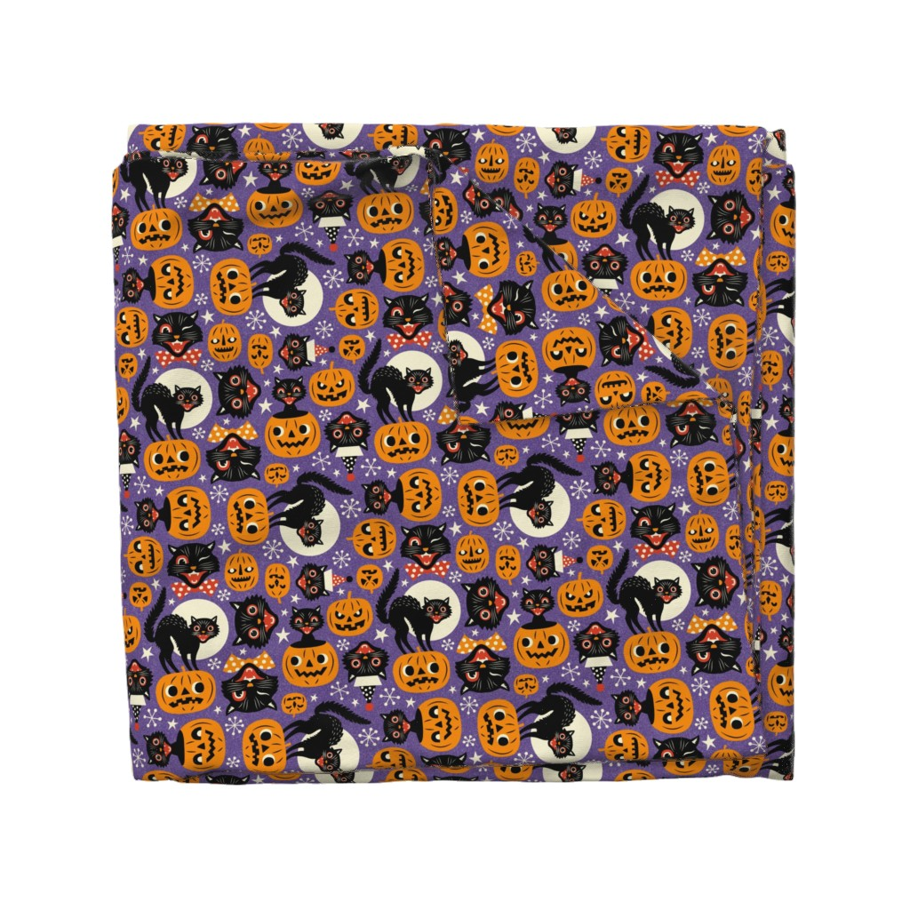 Wyandotte Duvet Cover featuring spooky vintage cats and pumpkins - purple by mirabelleprint