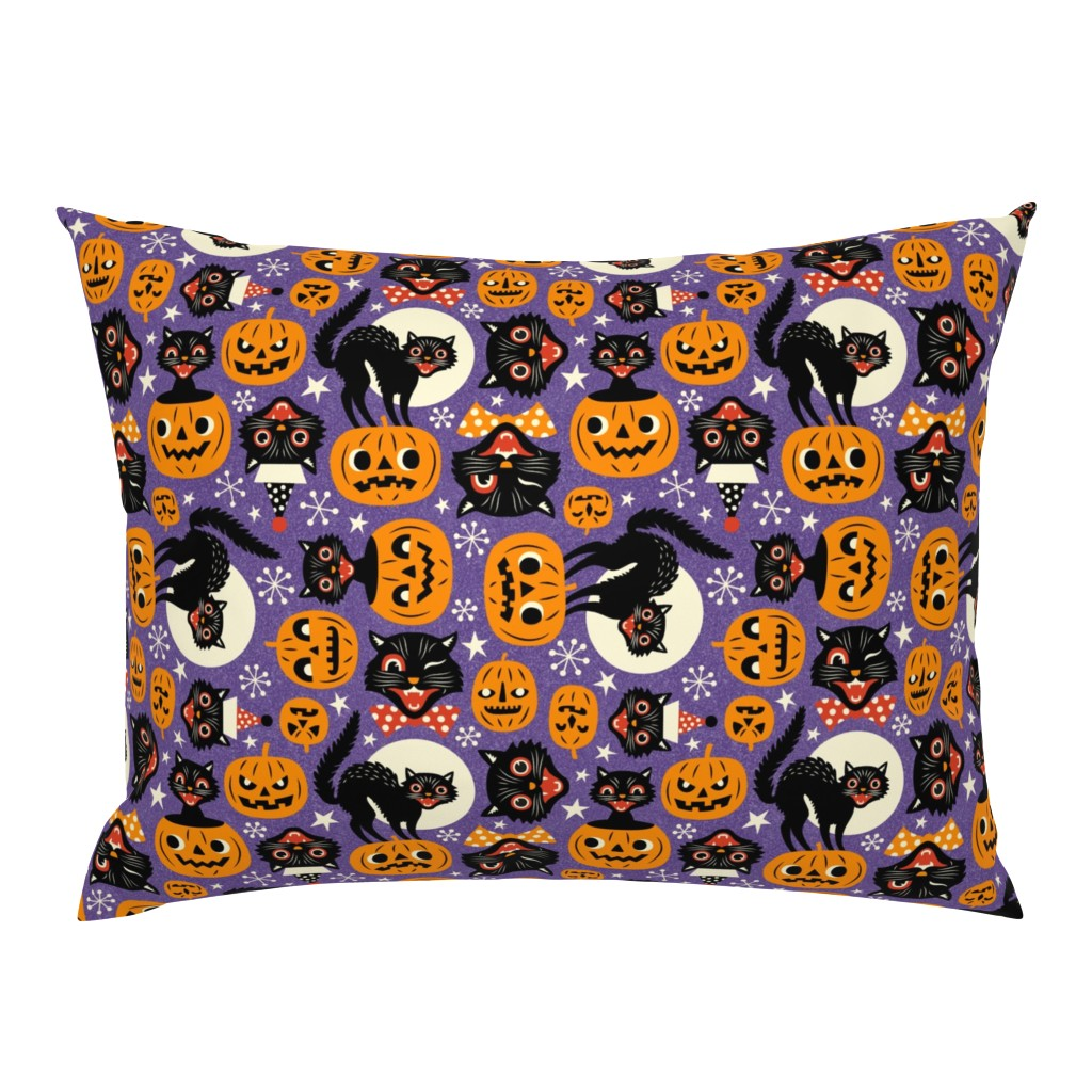 Campine Pillow Sham featuring spooky vintage cats and pumpkins - purple by mirabelleprint