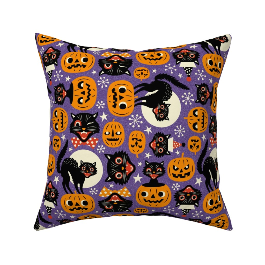 Catalan Throw Pillow featuring spooky vintage cats and pumpkins - purple by mirabelleprint