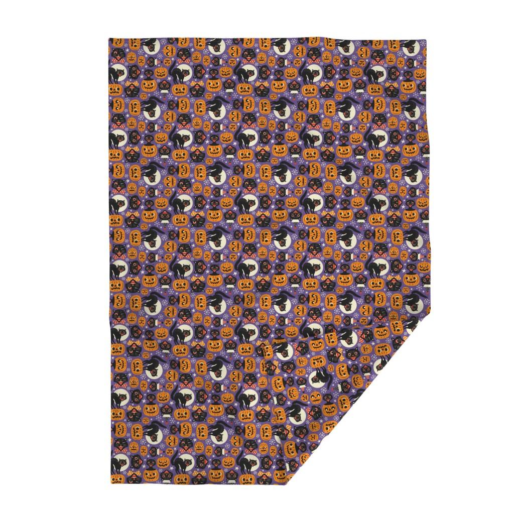 Lakenvelder Throw Blanket featuring spooky vintage cats and pumpkins - purple by mirabelleprint
