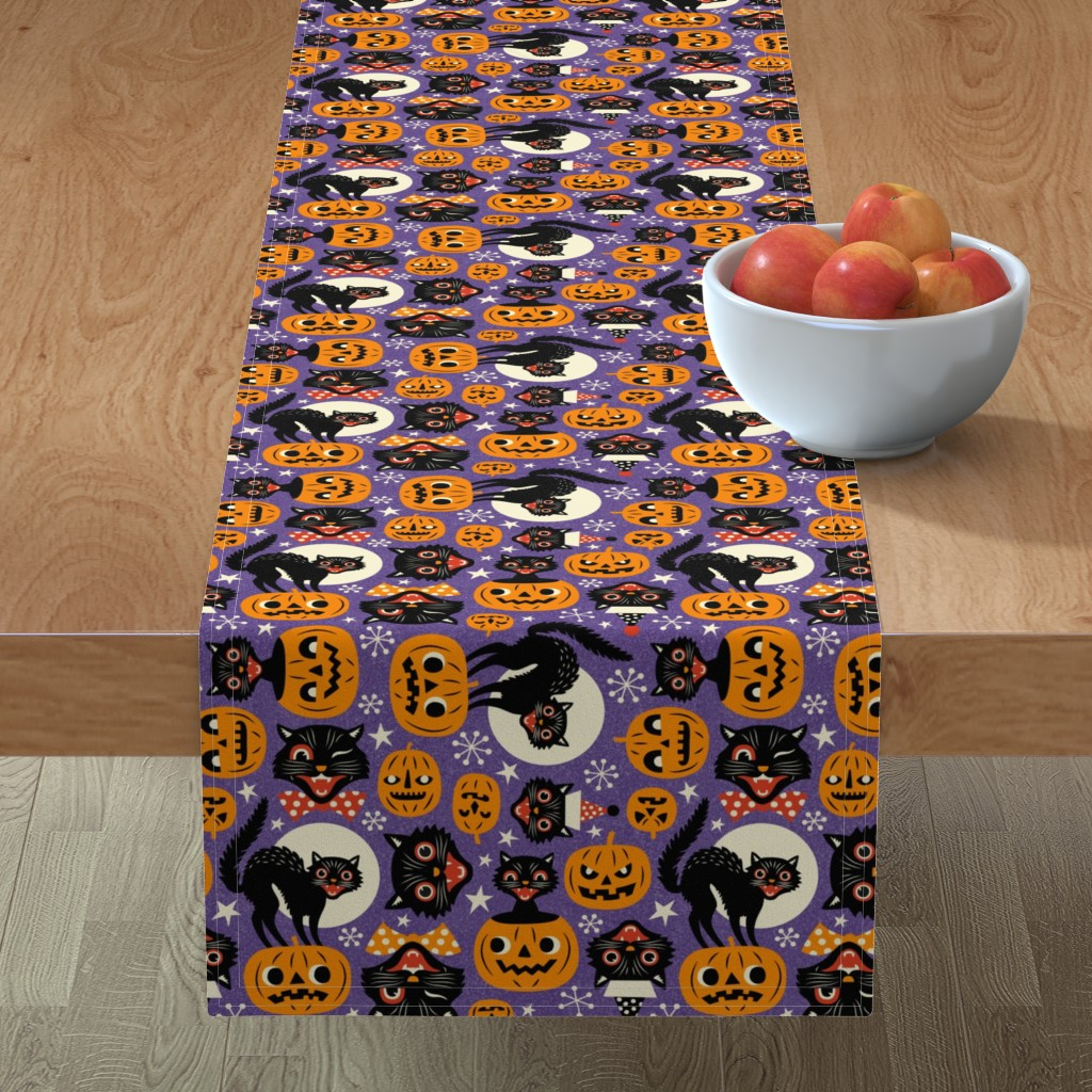 Minorca Table Runner featuring spooky vintage cats and pumpkins - purple by mirabelleprint
