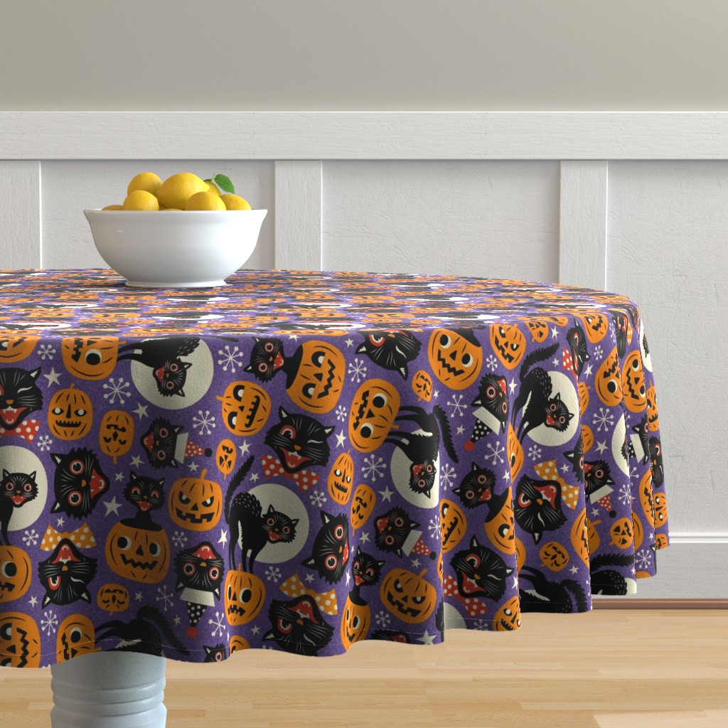 Malay Round Tablecloth featuring spooky vintage cats and pumpkins - purple by mirabelleprint