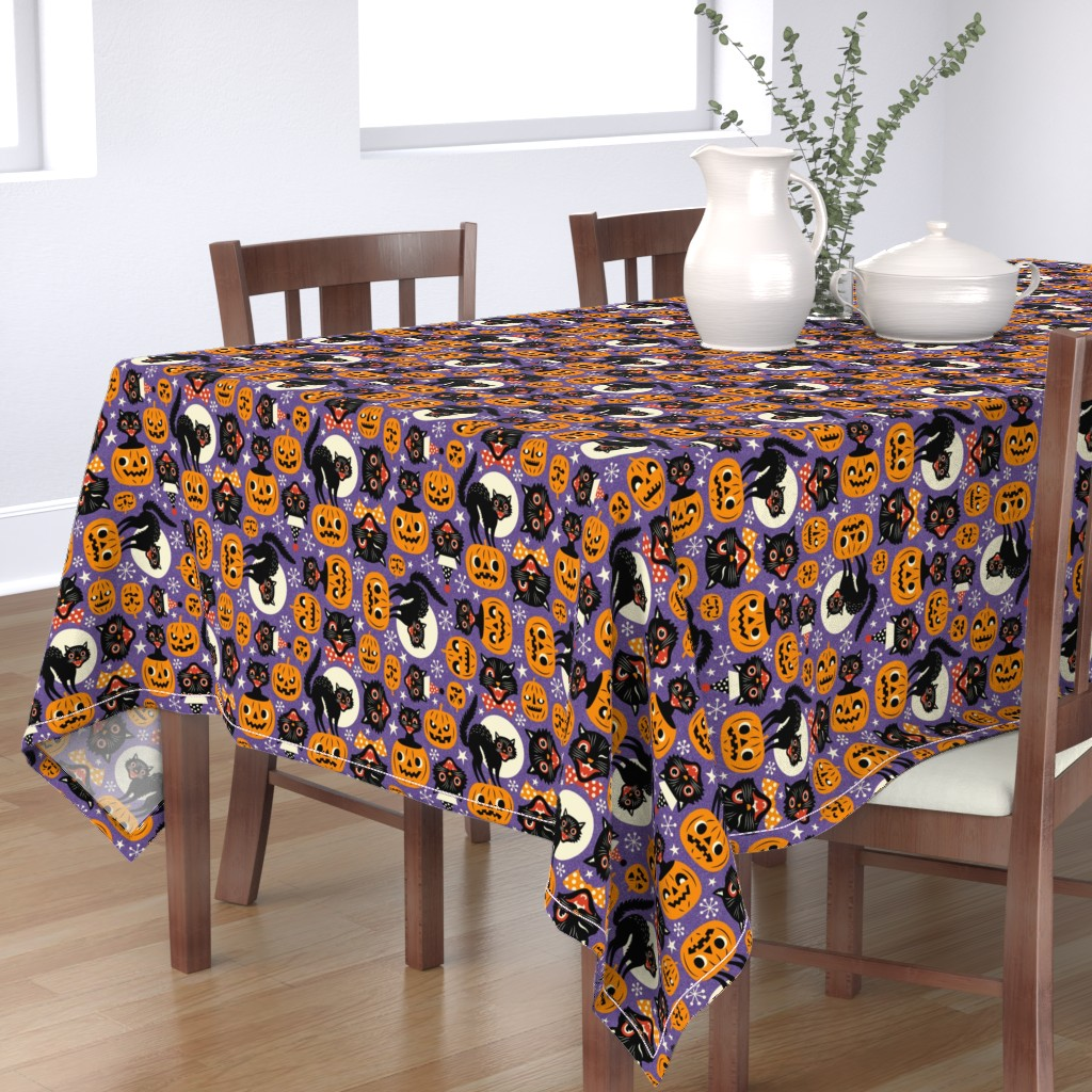 Bantam Rectangular Tablecloth featuring spooky vintage cats and pumpkins - purple by mirabelleprint