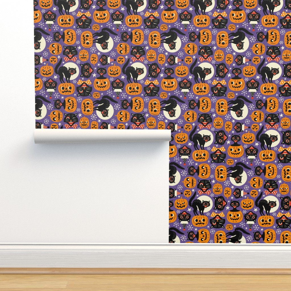 Isobar Durable Wallpaper featuring spooky vintage cats and pumpkins - purple by mirabelleprint