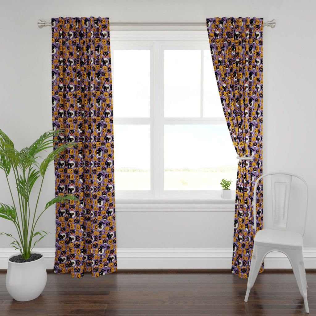 Plymouth Curtain Panel featuring spooky vintage cats and pumpkins - purple by mirabelleprint