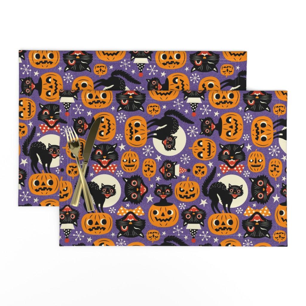 Lamona Cloth Placemats featuring spooky vintage cats and pumpkins - purple by mirabelleprint