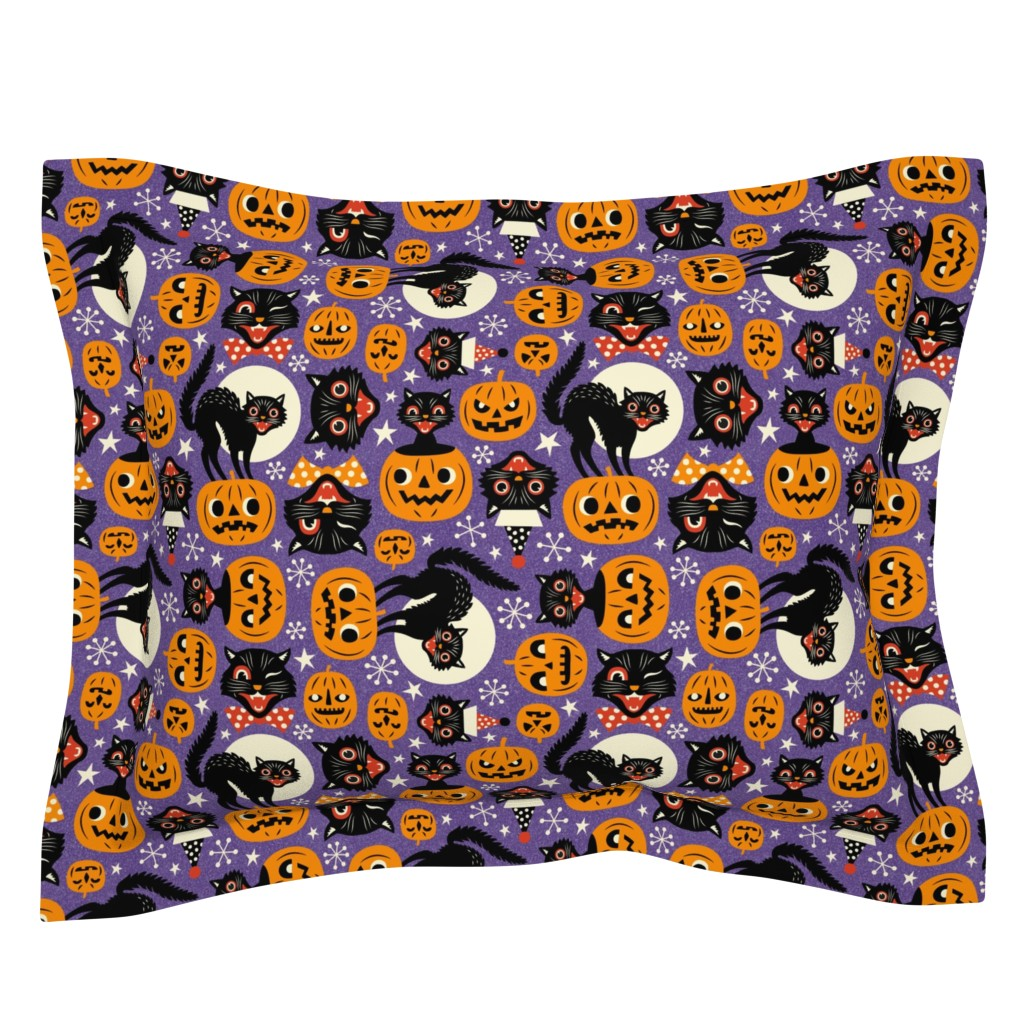 Sebright Pillow Sham featuring spooky vintage cats and pumpkins - purple by mirabelleprint