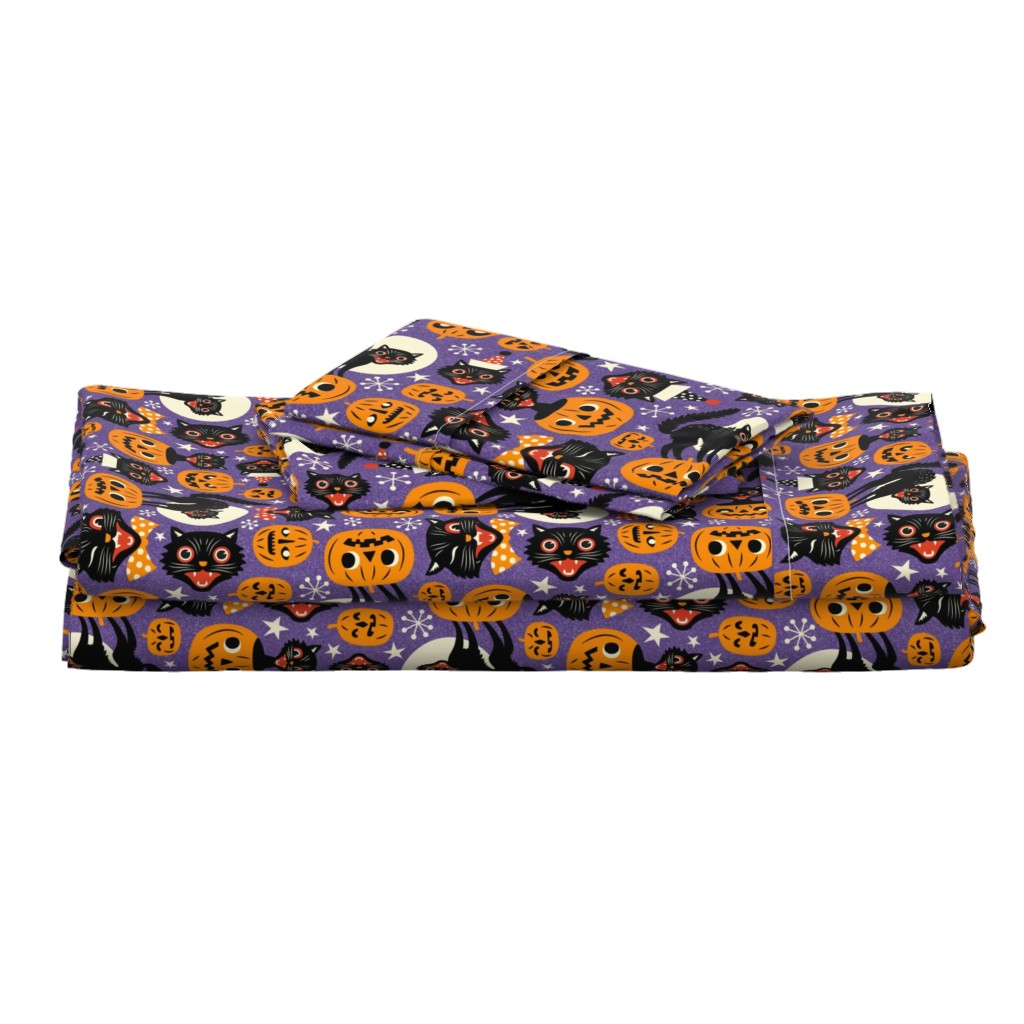 Langshan Full Bed Set featuring spooky vintage cats and pumpkins - purple by mirabelleprint