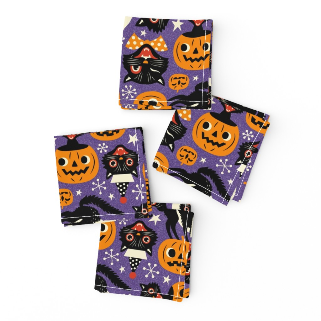 Frizzle Cocktail Napkins featuring spooky vintage cats and pumpkins - purple by mirabelleprint