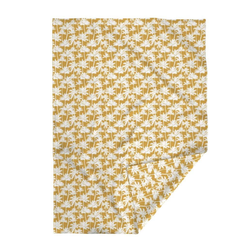 Lakenvelder Throw Blanket featuring palm trees  - mustard, small by mirabelleprint