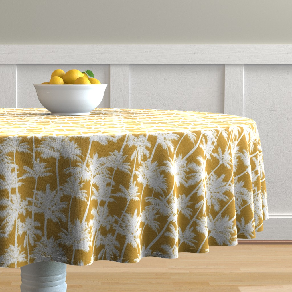 Malay Round Tablecloth featuring palm trees  - mustard, small by mirabelleprint