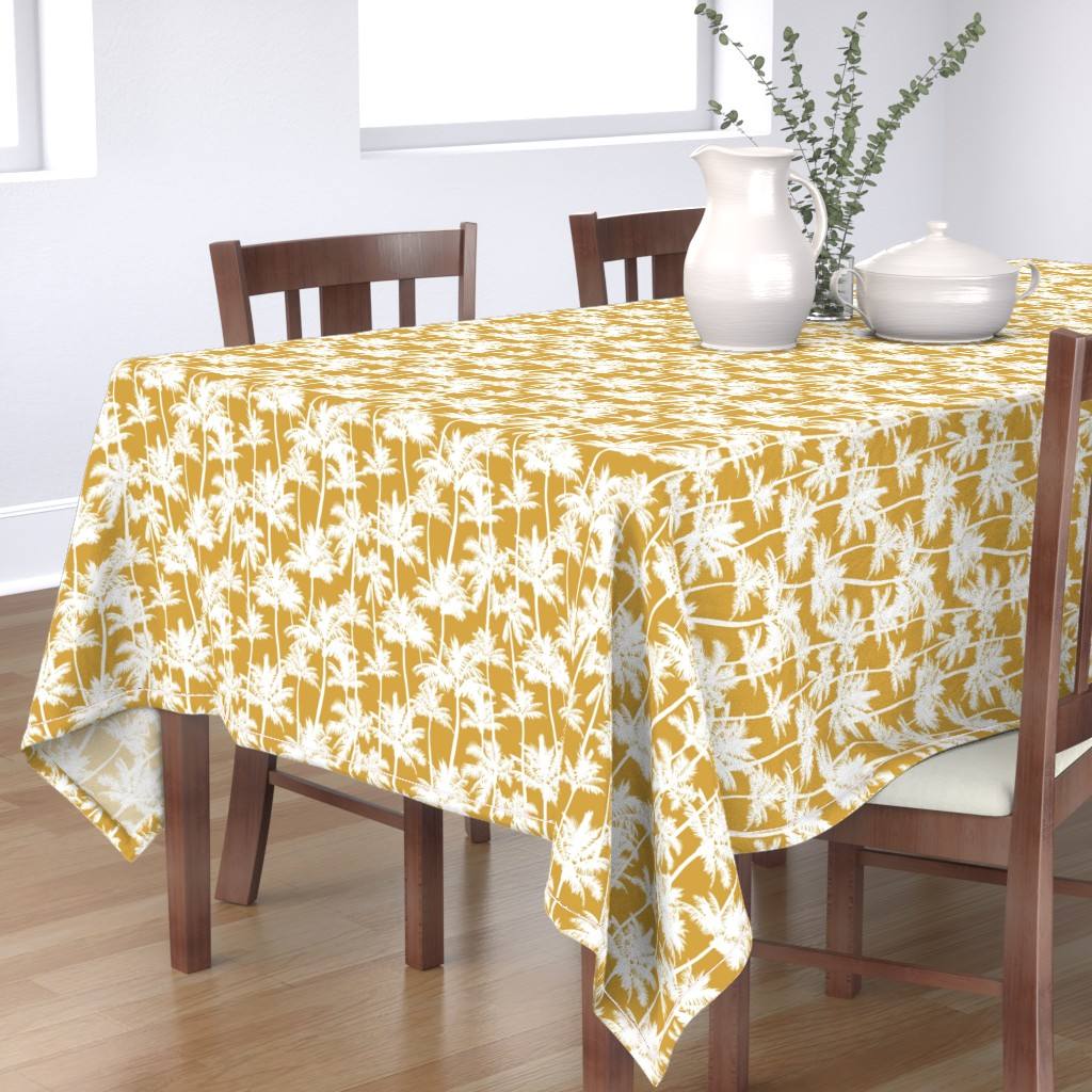 Bantam Rectangular Tablecloth featuring palm trees  - mustard, small by mirabelleprint