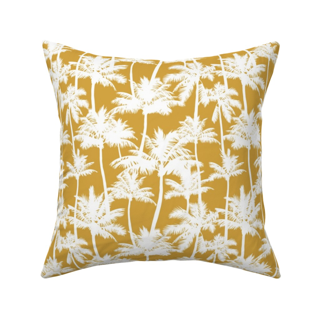 Catalan Throw Pillow featuring palm trees  - mustard, small by mirabelleprint