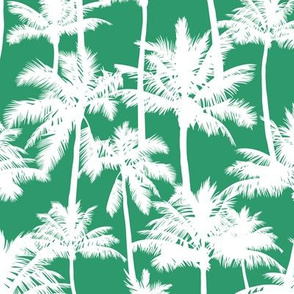 palm trees - white on green, small