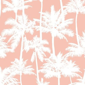 palm trees - white on blush, small